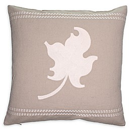 Cottage Life Embroidered Maple Leaf Square Throw Pillow in Clay/Ivory