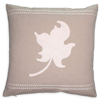 Cottage Life Embroidered Square Throw Pillow in Clay/Ivory