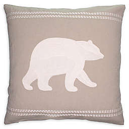 Cottage Life Embroidered Square Bear Throw Pillow in Clay/Ivory