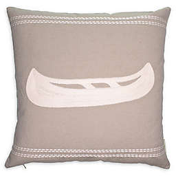 Cottage Life Embroidered Canoe Square Throw Pillow in Clay/Ivory