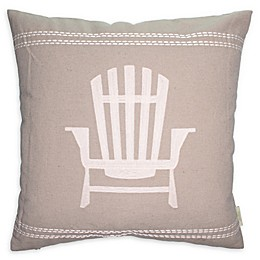 Cottage Life Embroidered Muskoka Chair Square Throw Pillow in Clay/Ivory