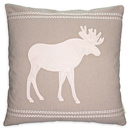 Cottage Life Embroidered Moose Square Throw Pillow in Clay/Ivory
