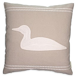 Cottage Life Embroidered Loon Square Throw Pillow in Clay/Ivory