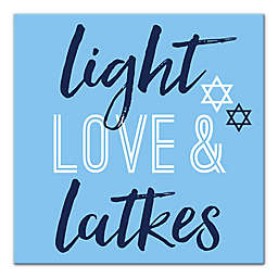 """Designs Direct """"Light, Love and Latkes"""" 16-Inch Square Canvas Wall Art"""