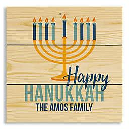 "Designs Direct ""Happy Hanukkah"" 10.69-Inch Square Wood Wall Art"