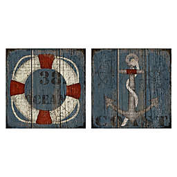 Coastal Wheel & Anchor 20-Inch Square Canvas Wall Art (Set of 2)