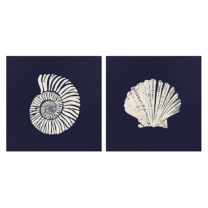 Alternate image 1 for Beach Blueprint I & II 16-Inch Square Canvas Wall Art (Set of 2)