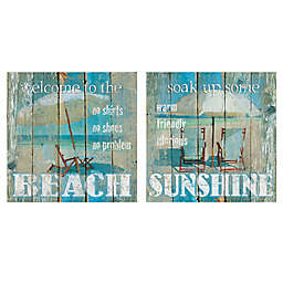 Beach & Sunshine Square Canvas Wall Art (Set of 2)