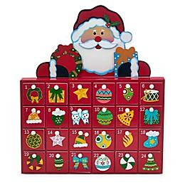 Kurt Adler 13-Inch Wooden Santa Advent Calendar in Red