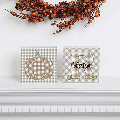 Fall Plaid Pumpkin Shelf Blocks (Set of 2)