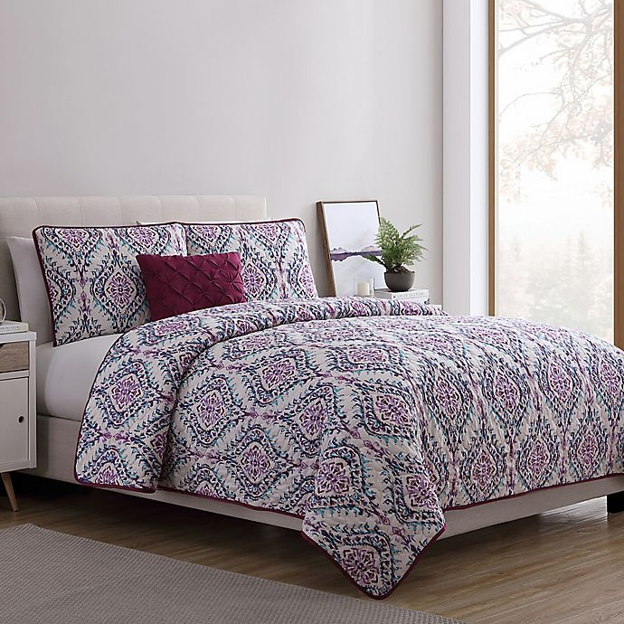 Alternate image 1 for VCNY Home Lyndon Twin XL Quilt Set in Purple