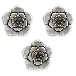 Metal Wall Flowers in Silver (Set of 3)