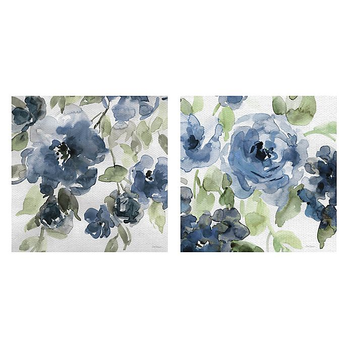 Alternate image 1 for Belle's Blue I & II Indigo 24-Inch Square Canvas Wall Art (Set of 2)
