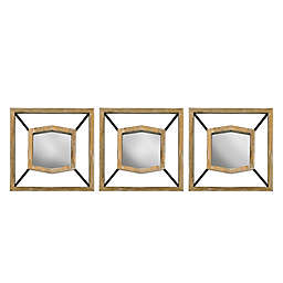 Wood and Metal Hexagonal 10-Inch Mirrors (Set of 3)