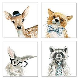 Fox Deer Rabbit Raccoon Canvas Wall Art (Set of 4)