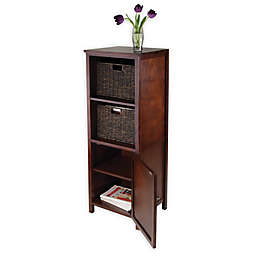 Winsome Trading Brooke Jelly Cabinet with Cabinet and 2 Baskets in Antique Walnut