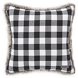 eddie bauer cabin plaid fur throw pillow