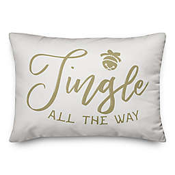 """Designs Direct """"Jingle All The Way"""" Oblong Throw Pillow in Brown"""