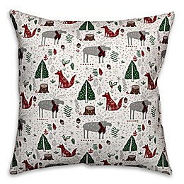 Designs Direct Christmas Woodland Creatures Square Throw Pillow in Grey