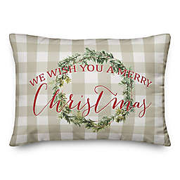 """Designs Direct """"We Wish You a Merry Christmas"""" Oblong Throw Pillow in Tan"""