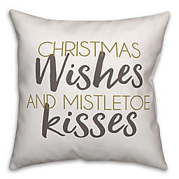 """Designs Direct """"Christmas Wishes and Mistletoe Kisses"""" Square Throw Pillow"""
