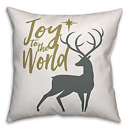 "Designs Direct ""Joy to the World"" Square Throw Pillow in Grey"