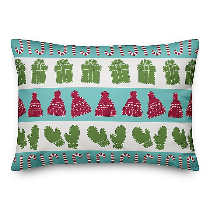 Alternate image 1 for Designs Direct Candy Canes, Mittens, and Hat Oblong Throw Pillow
