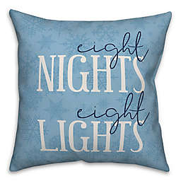 """Designs Direct """"Eight Nights Eight Lights"""" Square Throw Pillow in Blue"""