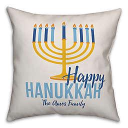 Designs Direct Hanukkah Menorah Square Throw Pillow in Blue