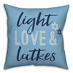 "Designs Direct ""Light Love & Latkes"" Square Throw Pillow in Blue"