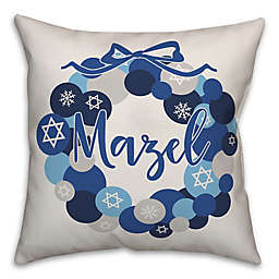 "Designs Direct ""Mazel"" Square Throw Pillow in Blue"