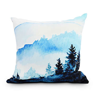 Winter Scene Square Throw Pillow in Blue