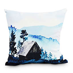 Cabin In The Woods Square Throw Pillow in Blue