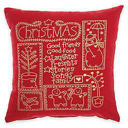 Mina Victory Christmas Cheer Square Throw Pillow in Red