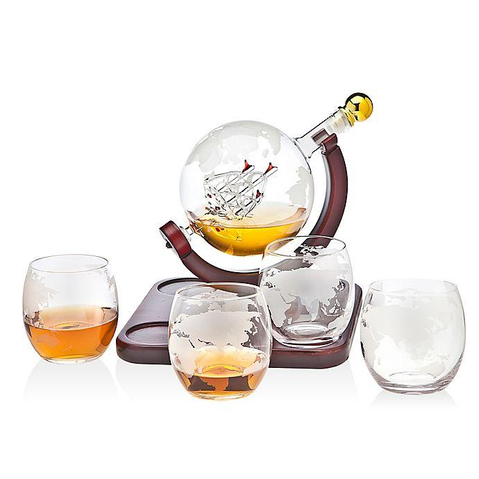 Alternate image 1 for Godinger Globe 5-Piece Whiskey Decanter