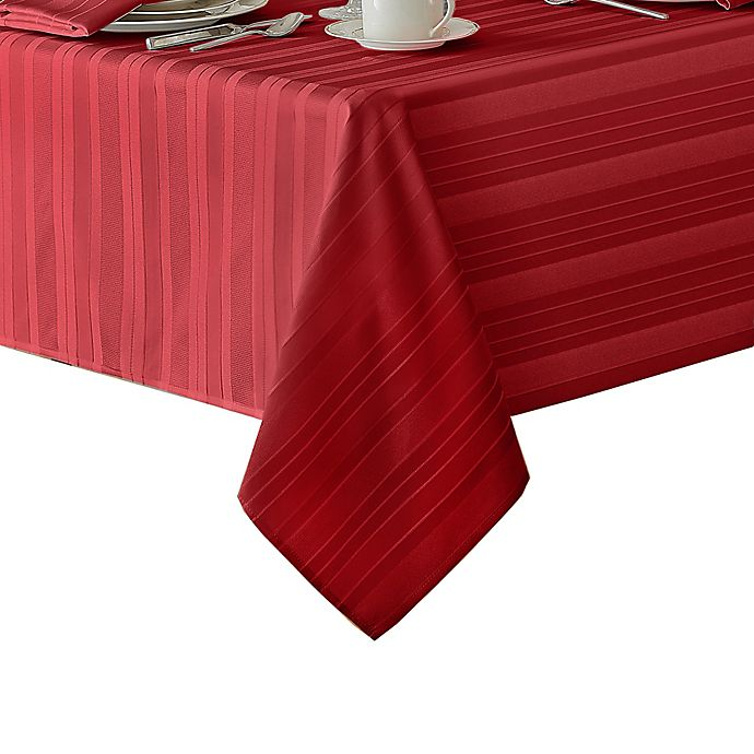 Alternate image 1 for Denley Stripe 52-Inch Square Tabecloth in Red