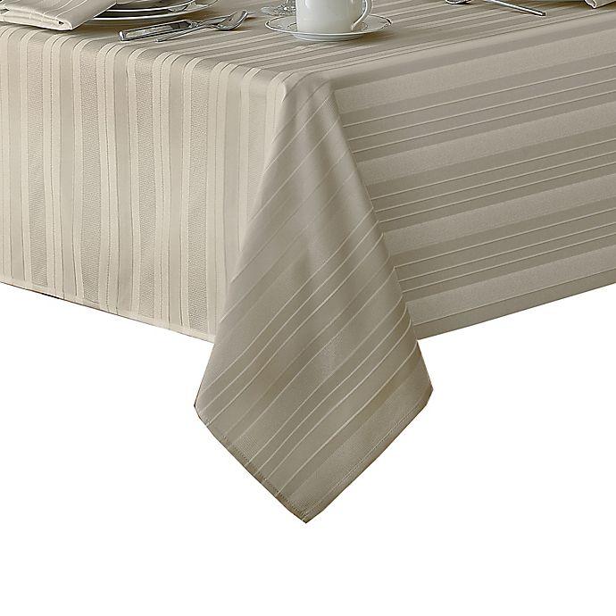 Alternate image 1 for Denley Stripe 60-Inch x 84-Inch Oblong Tabecloth in Grey