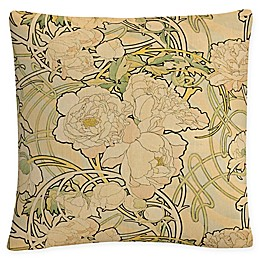 Trademark Fine Art Alphonse Mucha Peonies Square Throw Pillow