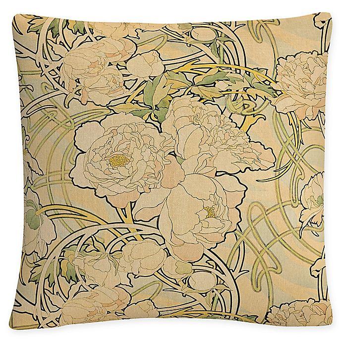 Alternate image 1 for Trademark Fine Art Alphonse Mucha Peonies Square Throw Pillow