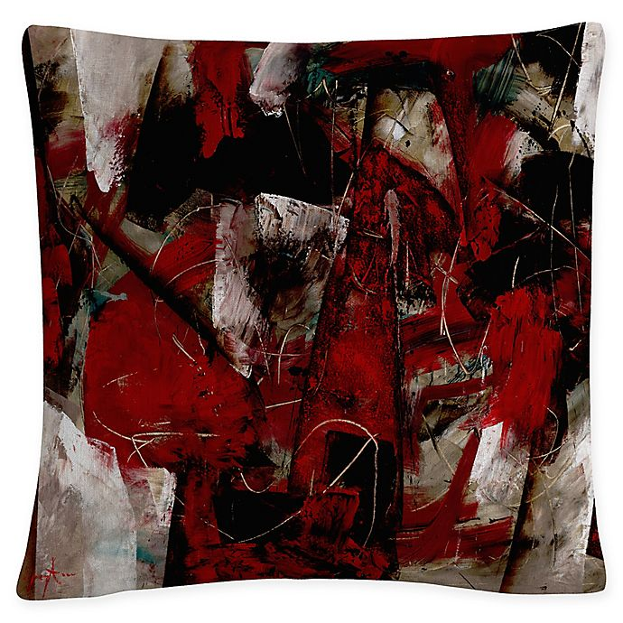 Alternate image 1 for Masters Fine Art Abstract Square Throw Pillow in Burgundy