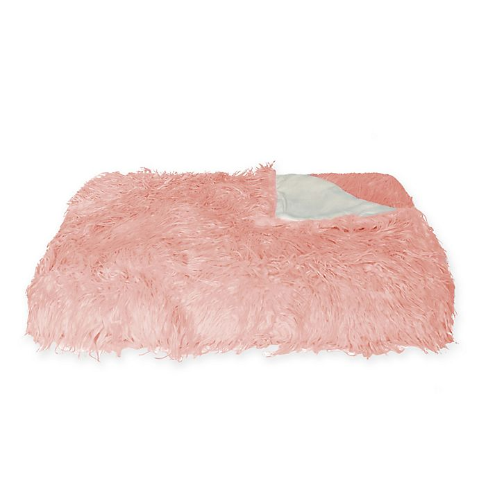 Alternate image 1 for Faux Mongolian Sheepskin Throw Blanket in Dusty Rose