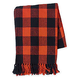 Franklin Plaid Throw Blanket in Orange