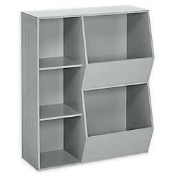 RiverRidge® Home 3-Cubby, 2-Veggie Bin Cabinet for Kids in Grey