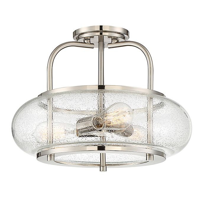 Alternate image 1 for Quoizel® Trilogy 3-Light Semi-Flush Mount Large Ceiling Light with Seedy Glass Shade