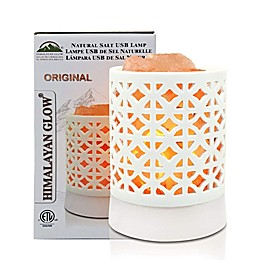 Himalayan Glow® Ceramic Pattern Salt Lamp in White
