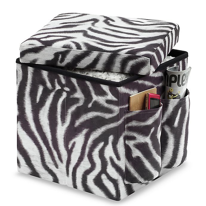 Sit And Store Folding Storage Ottoman Zebra Bed Bath