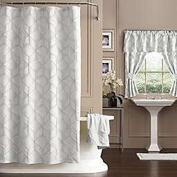 Horizons 54-Inch x 78-Inch Geometric Shower Curtain in White