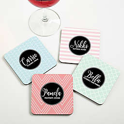 Name Meaning Geometric Personalized Coaster