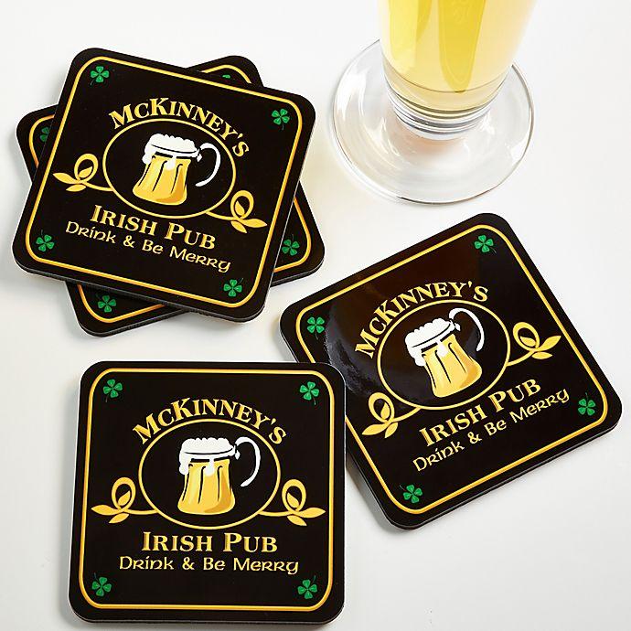 Alternate image 1 for Old Irish Pub Personalized Coaster