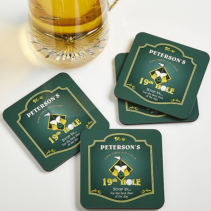 Alternate image 1 for 9th Hole Personalized Bar Coasters